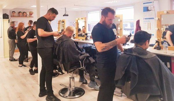 men cutting hiar barber course norwich
